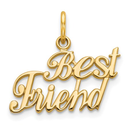 (14k Yellow Gold Best Friends Bestfriend Friendship Pendant Charm Necklace Fine Jewelry For Women Gift Set)