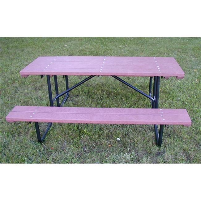 Engineered Plastic Systems SPT4 4 ft Bench and Table in Redwood