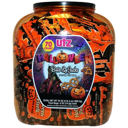 Utz Halloween Pretzel Barrel, Bat and Pumpkin Shaped Pretzels, 70 Ct (0.5 Oz. Bags)