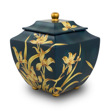 Large Wood Urn - Wood Cremation Urn - Extra Large 230 Pounds - Indigo Blue Indigo Orchid - Engraving Sold Separately