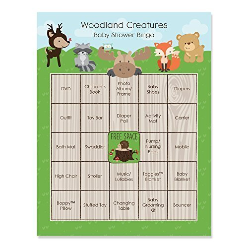 Woodland Creatures - Baby Shower Game Bingo Cards - 16 Count