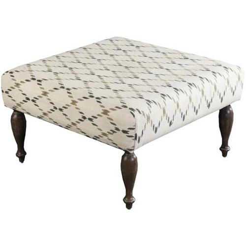 "32"" Winter White, Olive and Forest Green Upholstered Wool and Wooden Foot Stool Ottoman by Diva At Home"