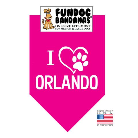 Fun Dog Bandana - I Love Orlando- One Size Fits Most for Med to Lg Dogs, hot pink pet scarf
