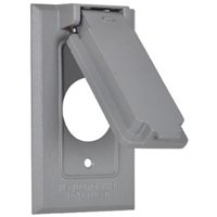 Hubbell Electrical Products 1C-SVX Single-Receptacle Flip Cover, Weatherproof, Gray