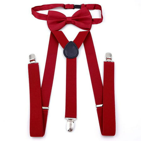 Outgeek Men's Pre-Tied Adjustable Bow Tie with Y-Back Clip Suspenders for Tux Wedding Prom Formal (Back/Wine Red)](Red Bow Tie Red Suspenders)