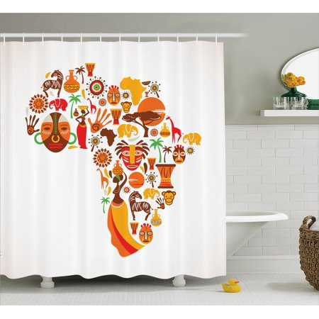 African shower curtain set african map with different famous icons ethnic masks and savannah for Savannah bathroom accessories