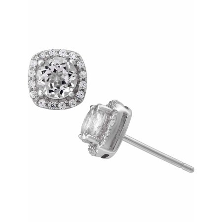 White Topaz and White CZ Sterling Silver Round Halo 5mm Stud Earrings