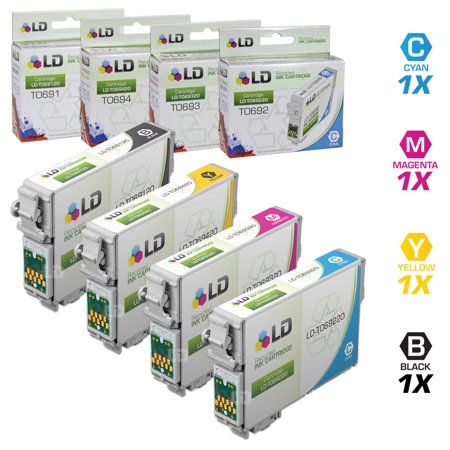 Epson Remanufactured T069 set of 4 Cartridges: Includes 1 Black T069120, 1 Cyan T069220, 1 Magenta T069320, & 1 Yellow T069420 ()