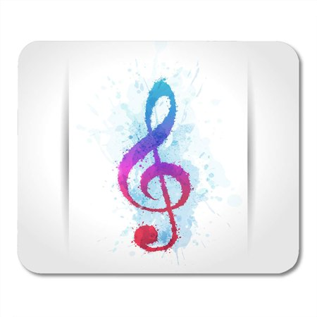 LADDKE Red Blue Music Treble Clef with Brush Strokes and Colors with Watercolor Effect Colorful Festival Mousepad Mouse Pad Mouse Mat 9x10 (Strobe Effect)