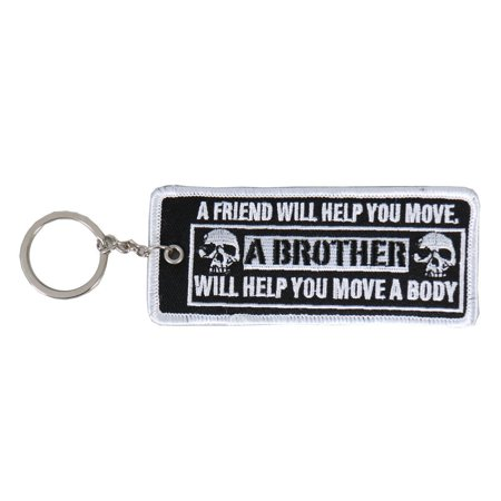 "Double Sided Key Chains, A FRIEND WILL HELP YOU - High Quality Embroidered PATCH KEYCHAIN - 4"" x 2"""