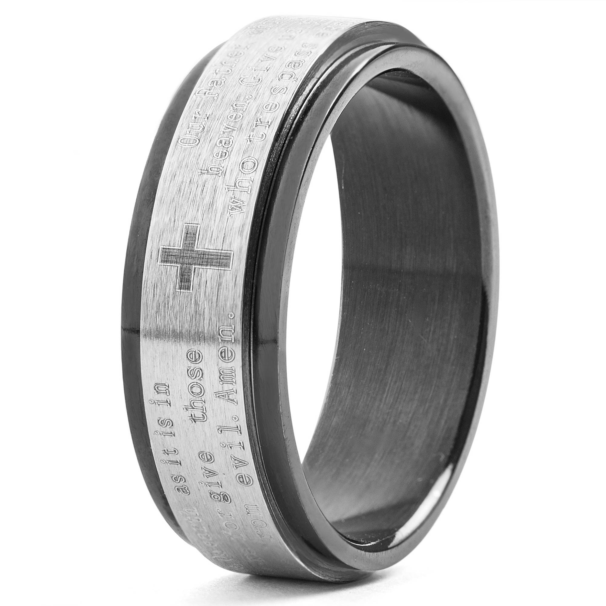 Men's Black-Plated Stainless Steel Lord's Prayer Spinner Ring