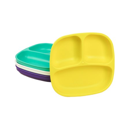 Re-Play Made in USA 4pk Divided Plates with Deep Sides for Easy Baby, Toddler, Child Feeding - Amethyst, Aqua, White, Yellow (Pop+) - Halloween Cups And Plates