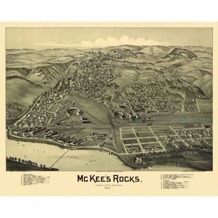 Antique Map Of Mckees Rocks Pennsylvania 1901 Allegheny County Canvas Art     36 X 54