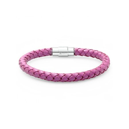 Oxford Ivy Lavender Braided Leather Bracelet - Stainless Steel Locking Magnetic Clasp (7 1/2 (Ivy Charm)