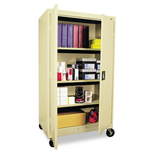 "Alera Mobile Storage Cabinet, W/adjustable Shelves 36w X 24d X 66h, Putty - 36"" X 24"" X 66"" - Steel - 4 X Shelf[ves] - Adjustable Shelf, Reinforced Door, Lockable, Locking Casters, Heavy (cm6624py)"