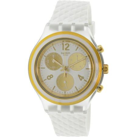 76c59e9e Swatch Women's Elegolden SVCK1008 White Silicone Swiss Quartz Sport Watch -  image 1 ...