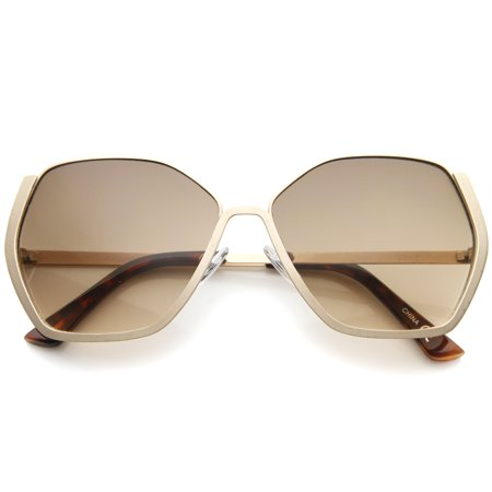 sunglassLA - Women's Semi-Rimless Hexagonal Geometric Oversize Sunglasses - (59mm Semi Rimless Aviator Sunglasses)