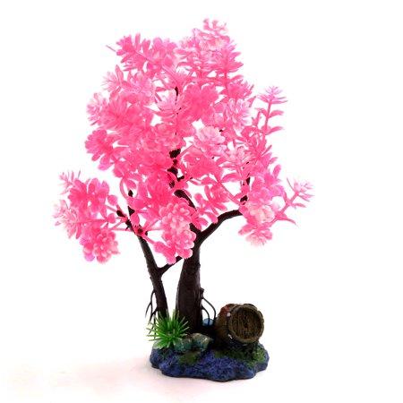 Pink Plastic Tree Fishbowl Aquarium Decorative Plant Waterscape Decor w/ Stand (Decorative Fish Tank Stands)