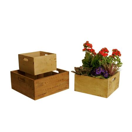 Wald Import Square Wood Crates Decorative Basket - Set of 3 - Square Baskets