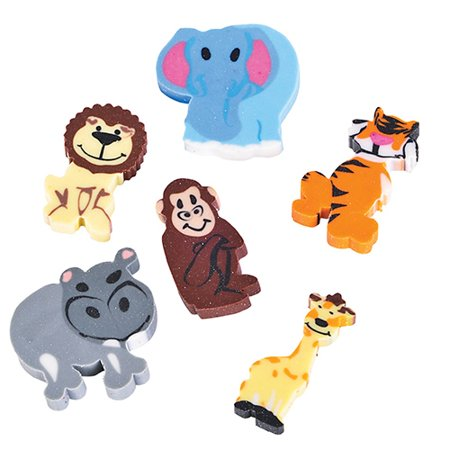 Mini Zoo Animal Erasers - 144 per pack