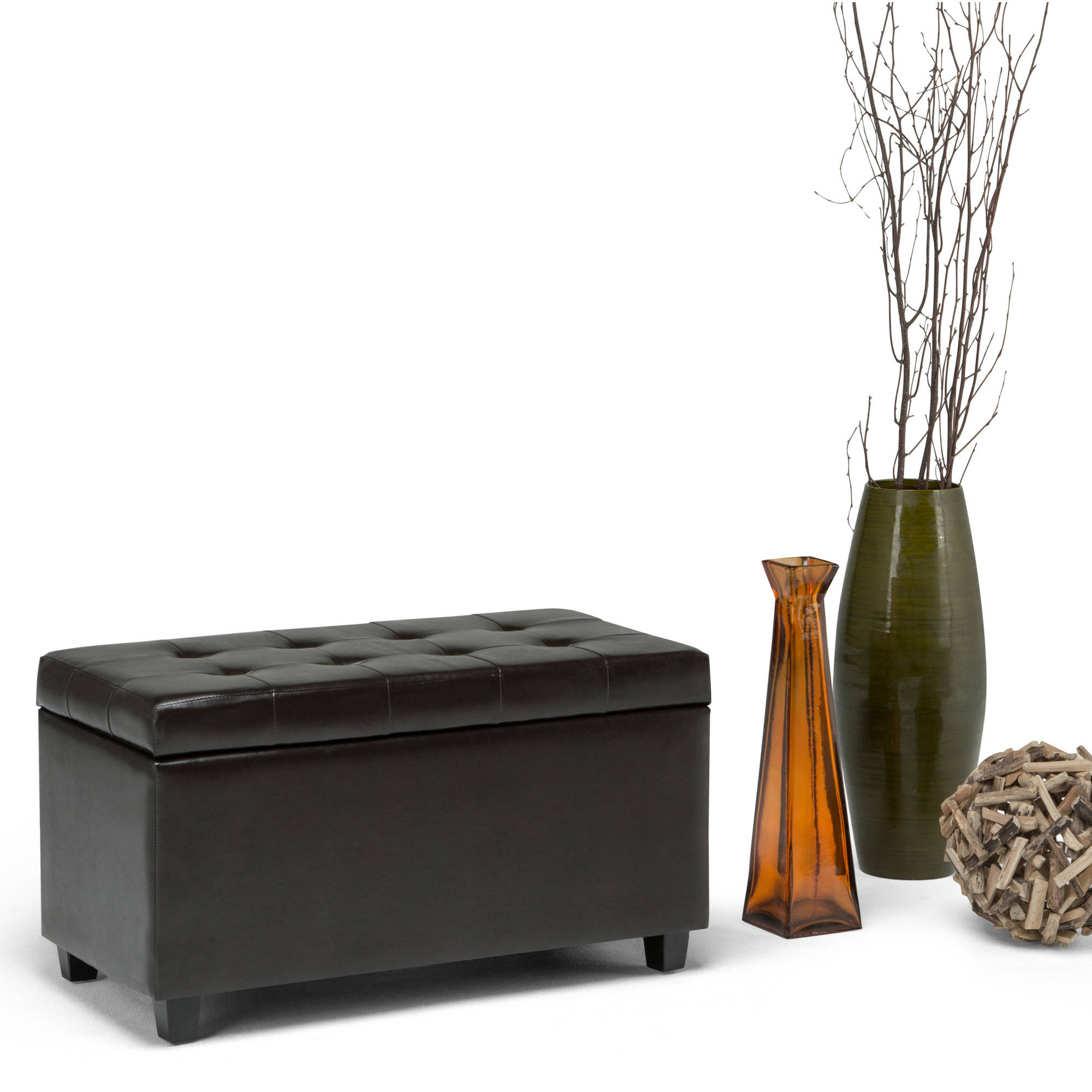 Brooklyn + Max City Medium Rectangular Brown Faux Leather Storage Ottoman Bench