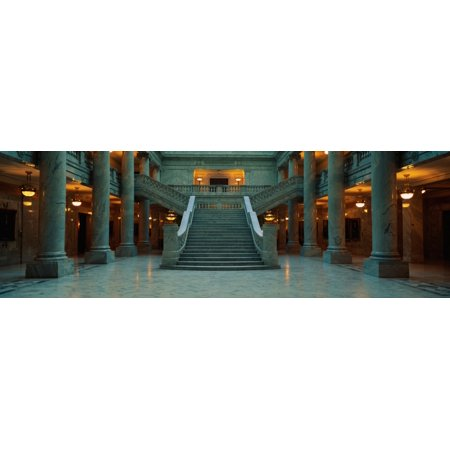 This is the interior of the State Capitol of Utah Marble Columns are at the sides of a very wide grand staircase leading to the second floor Canvas Art - Panoramic Images (36 x 12) - Grand Collection Floor