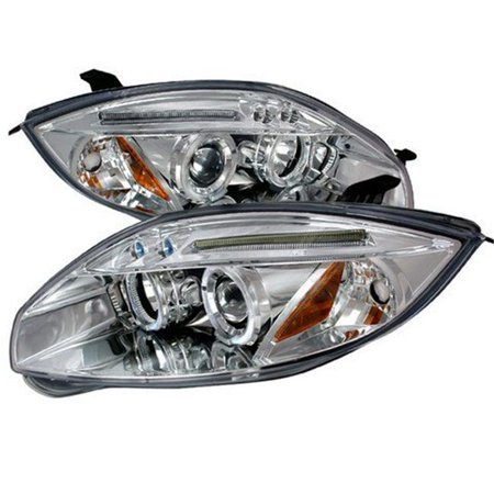02 Mitsubishi Eclipse Headlight - Spec-D Tuning 2LHP-ELP06-TM Halo LED Projector Headlights for 06 to 08 Mitsubishi Eclipse, Chrome - 13 x 25 x 26 in.