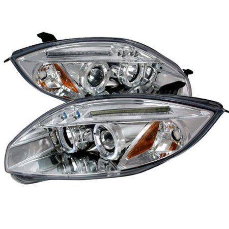 Spec-D Tuning 2LHP-ELP06-TM Halo LED Projector Headlights for 06 to 08 Mitsubishi Eclipse, Chrome - 13 x 25 x 26 in.
