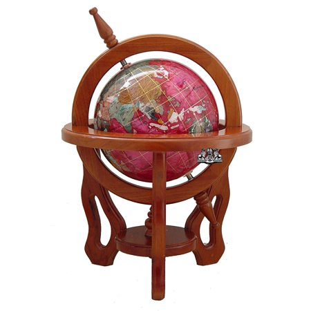 Unique Art 18-Inch by 9-Inch Pink Pearl Swirl Ocean Gemstone World Globe with 3-Leg Mahogany Finish Wood Frame