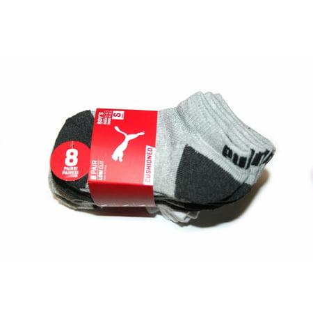 Puma Cushioned 8 pair Low Cut Boy's Socks, White/Gray (Sock: 5-6.5, Shoe: (Cushion Low Sock)
