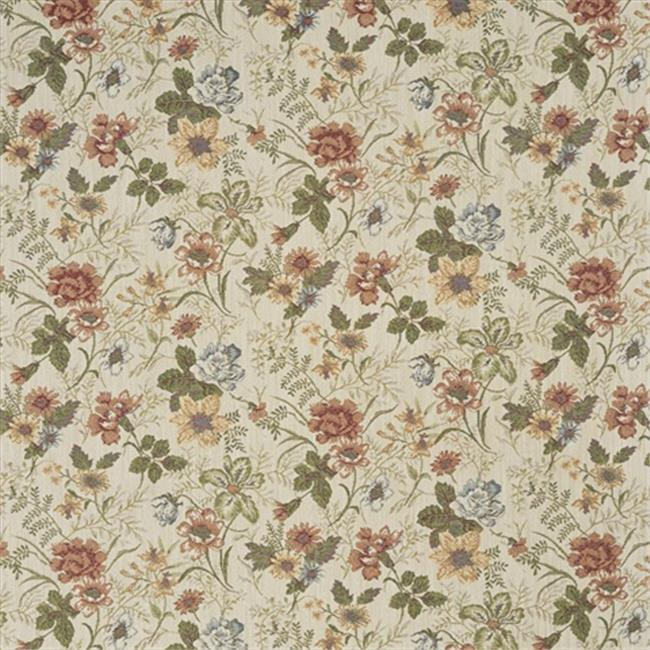 Designer Fabrics F929 54 in. Wide Red, Green And Yellow, Floral Tapestry Upholstery Fabric
