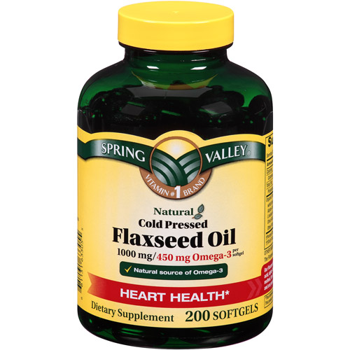 Spring Valley Natural Cold Pressed Flaxseed Oil Softgels, 1000 mg, 200 count