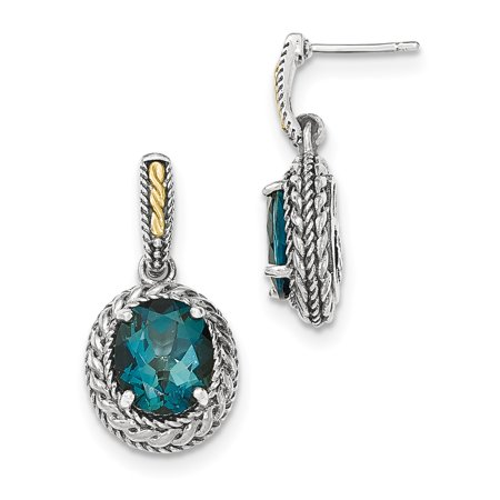 Sterling Silver Two Tone Silver And Gold Plated Sterling Silver w/London Blue Topaz Earrings - image 2 de 2