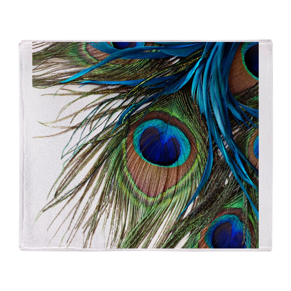 "CafePress Peacock Feathers Soft Fleece Throw Blanket, 50""x60"" Stadium Blanket by"