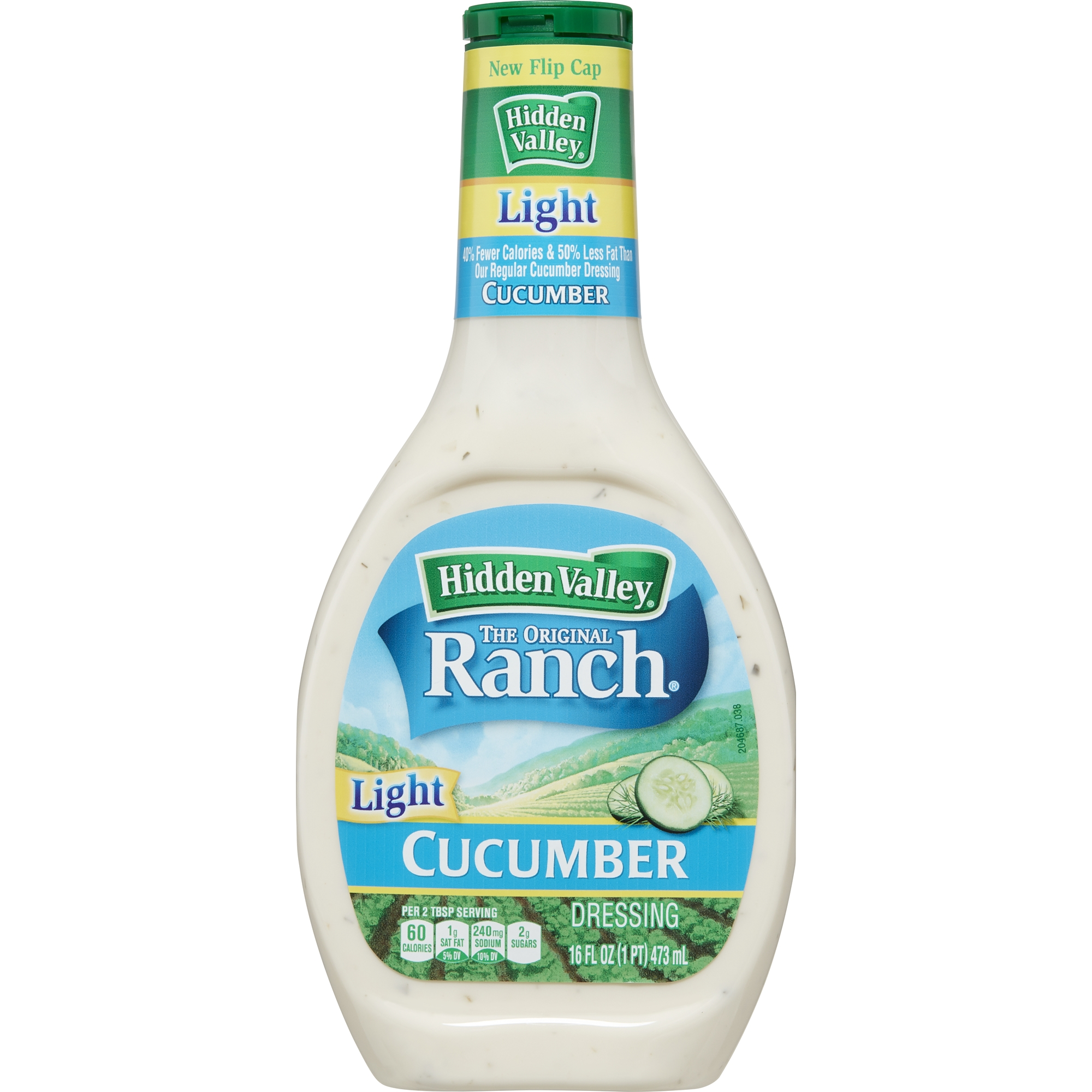 Hidden Valley Cucumber Ranch Light Salad Dressing & Topping, Gluten Free - 16 oz Bottle