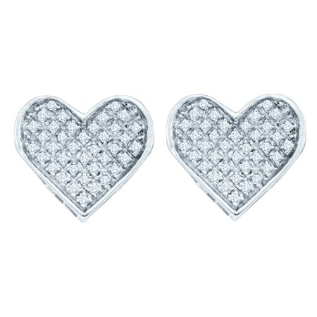 Sterling Silver Womens Round Diamond Concave Heart Screwback Stud Earrings 1/20 Cttw = .05 Cttw (I3 Clarity, round - Cut Out Heart Earrings