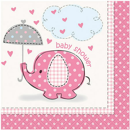 (3 Pack) Elephant Baby Shower Cocktail Napkins, 5 in, Pink, 16ct (Elephant Babyshower)