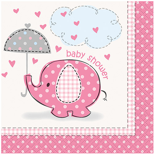 (3 Pack) Elephant Baby Shower Cocktail Napkins, 5 in, Pink, 16ct