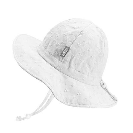Toddler Girls Cotton Sun Hats 50 UPF, Drawstring Adjustable, Stay-on Tie (M: 6 - 24m, White Eyelet)