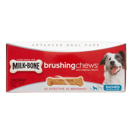 Milk Bone Advanced Oral Care Brushing Chews Daily Dental Treats SM/MED - 7 CT