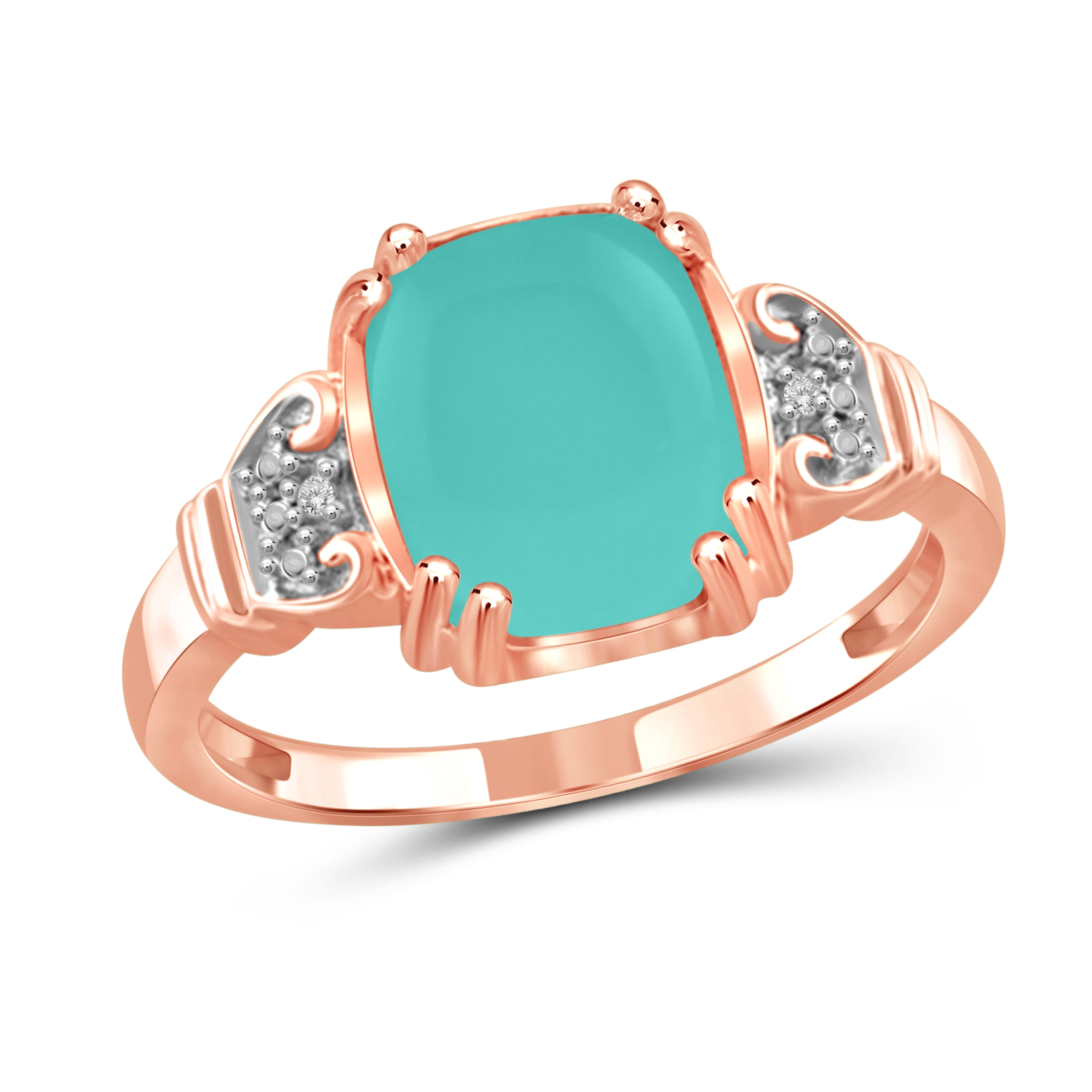 JewelonFire Sterling Silver Genuine Chalcedony Gemstone and White Diamond Accent Ring by Overstock