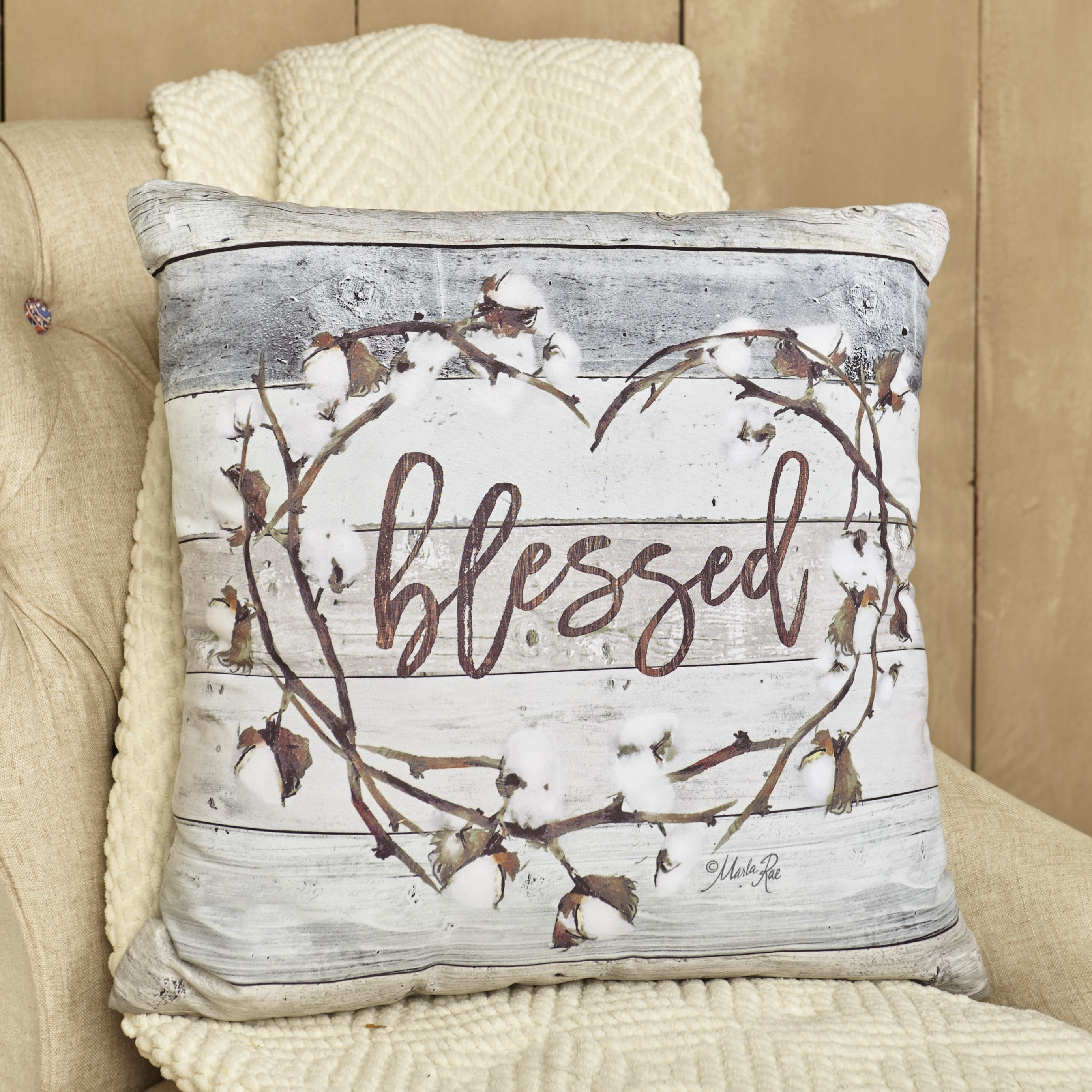 Cotton Boll Accent Pillow With Country Blessed Sentiment Message Walmart Com Walmart Com