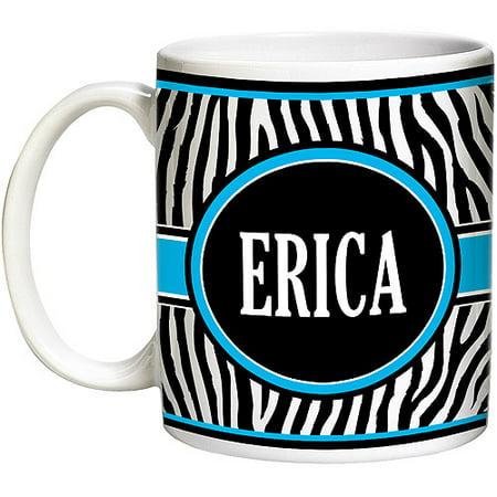 Personalized Zebra Coffee Mug, 15 oz - Blue