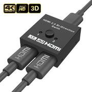 HDMI Switch 4K HDMI Splitter - Aluminum Bi-Directional HDMI Switcher 1 In 2