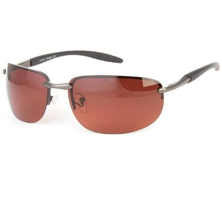 Black Rimless Classic Men Glasses Outdoor Sports Eyewear Driving UV (Guess Rimless Glasses)