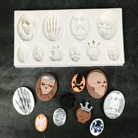 TURNTABLE LAB Halloween Party Skull Pumpkin Cauldron Silicone Baking Mould Cupcake Topper (Baking Halloween Pumpkin)