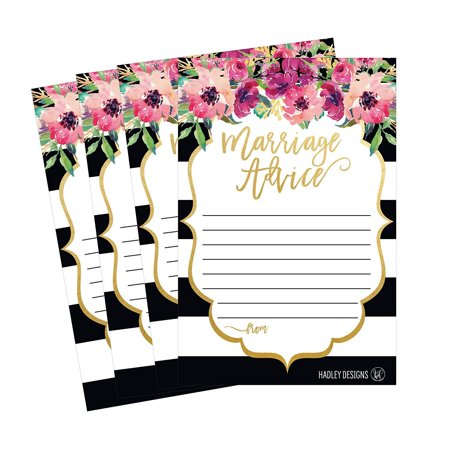50 4x6 Floral Wedding Advice & Well Wishes For The Bride and Groom Cards, Reception Wishing Guest Book Alternative, Bridal Shower Games Note Card Marriage Advice Bride To Be, Best - Best Wishes For Wedding
