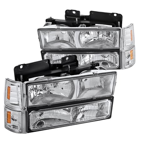 Gmc S15 Pickup Truck Headlight - Spec-D Tuning For 1994-1998 Gmc C10 Sierra Pickup Crystal Chrome Headlights Bumper Amber Corner Signal Lamps 1994 1995 1996 1997 1998 (Left+Right)