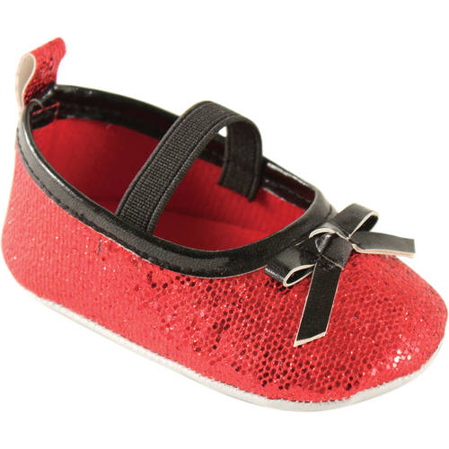 Luvable Friends Newborn Baby Girl Sparkly Mary Jane Crib Shoes