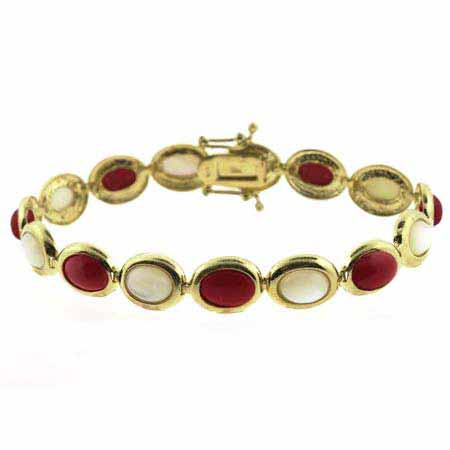 18K Gold over Sterling Silver Mother of Pearl & Simulated Red Coral Oval Link Bracelet by SilverSpeck